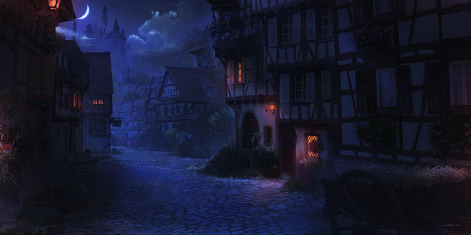 Фото Деревенская улица в старинном городе в ночное время, с вымощенной дорогой, by Florent Llamas