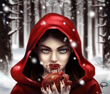 Фото Девушка в красном плаще с окровавленными губами держит в руке сердце, by fatL-ephant