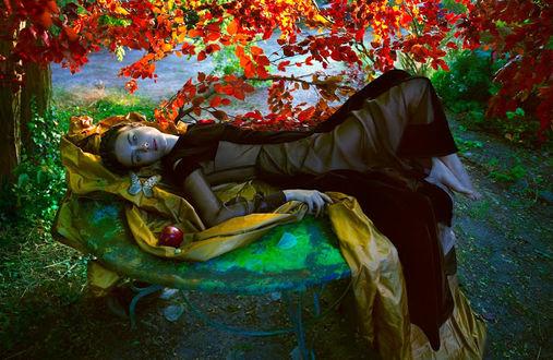Фото Польская топ-модель Jac Monika Jagaciak / Моника Ягачак в черном платье лежит на столе, где лежит яблоко и сидит бабочка