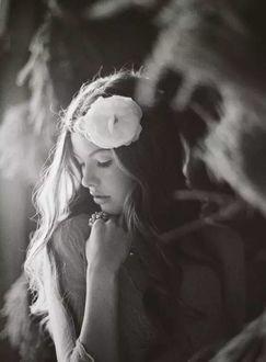 Фото Девушка с цветком на голове