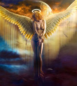 Фото Девушка-ангел стоит на фоне облаков, by sasha-fantom