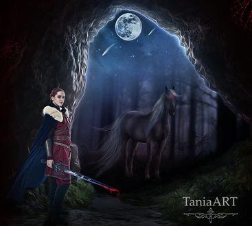 Фото Девушка - воин с окровавленным мечом в руке, за ней на фоне луны и леса стоит конь, by taniaart