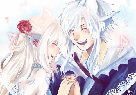 Фото Парень и девушка улыбаются держась за руки, by enmoire