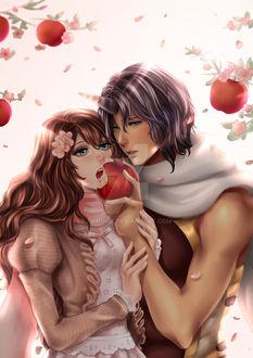 Фото Парень единорог кормит девушку красным яблоком, by enmoire