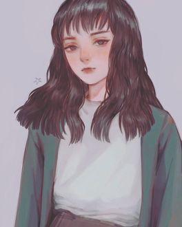 Фото Грустная девушка с длинными волосами