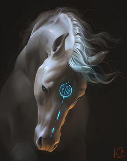 Фото Лошадь со светящимся голубым знаком на лбу, by GaudiBuendia