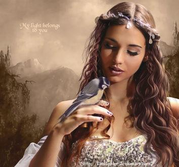 Фото Девушка с украшениями на волосах держит птицу на руке на фоне горного пейзажа, by katzaphire