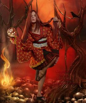 Фото Девушка стоит на одной ноге на черепах, держа в руках магический шар, рядом на дереве сидит ворон, by katzaphire