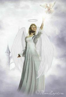 Фото Девушка - ангел белокрылый с ореолом над головой протянула руку к парящему в воздухе голубю, by MoonZaphire