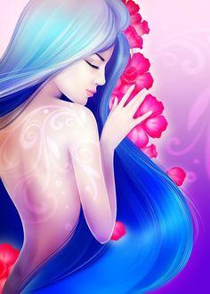 Фото Девушка с голубыми волосами перед розовыми цветами, by Lana Flamy