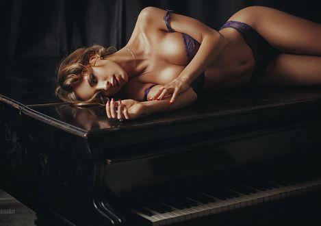 Фото Девушка в нижнем белье лежит на рояле, фотограф Anton Zhilin