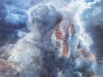 Фото Симфония для двоих, облачный парень обнимает девушку, by clair0bscur