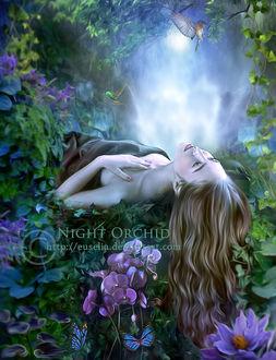 Фото Девушка лежит в цветах, by Euselia
