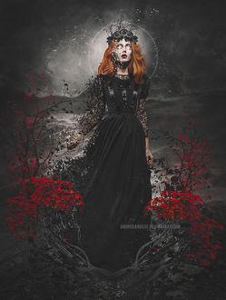 Фото Работа Pieces of the soul / кусочки души, девушка в венке на голове и с разлетающейся на частички рукой, by AndreeaRosse