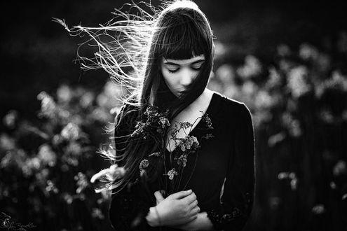 Фото Грустная девушка с цветами в руках, by Stefan Beutler