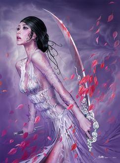 Фото Девушка - воин с окровавленным мечом и лицом, с серебристыми татуировками в окружении летающих красных листьев, by Tang Yuehui