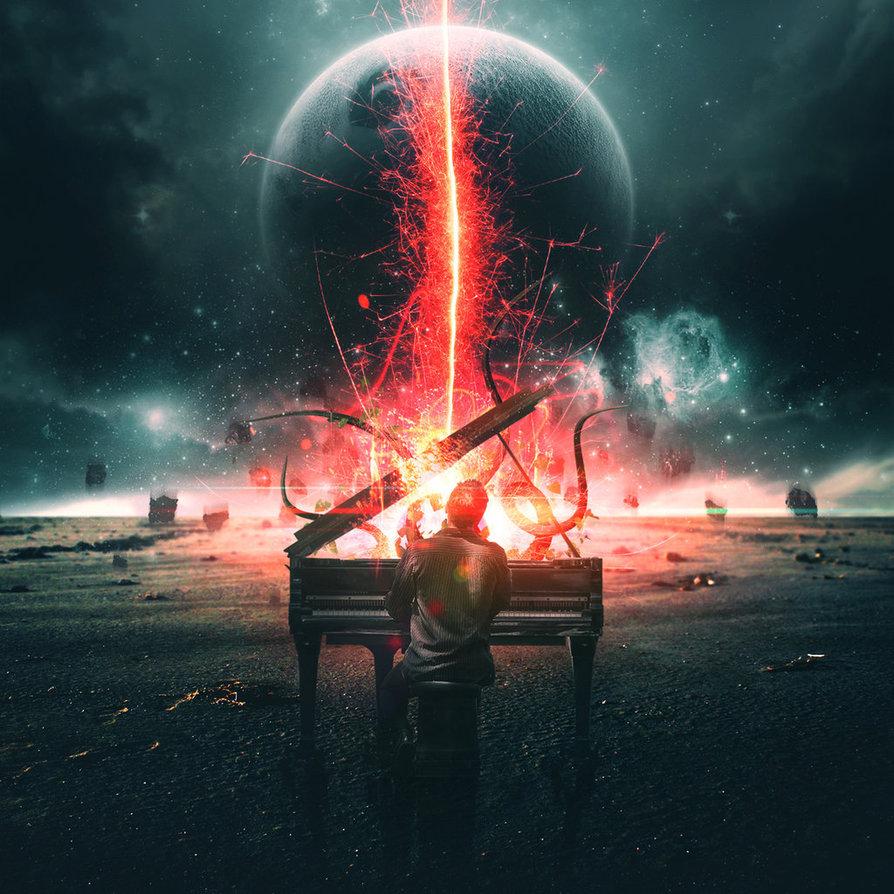Фото Парень за горящим роялем на фоне планет