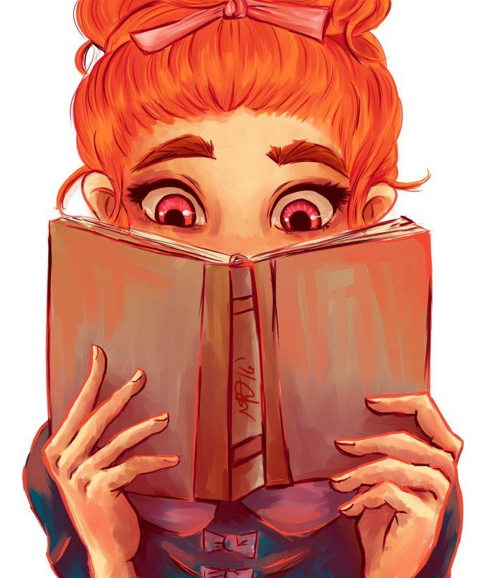 Картинки нарисованной девочки с книгой