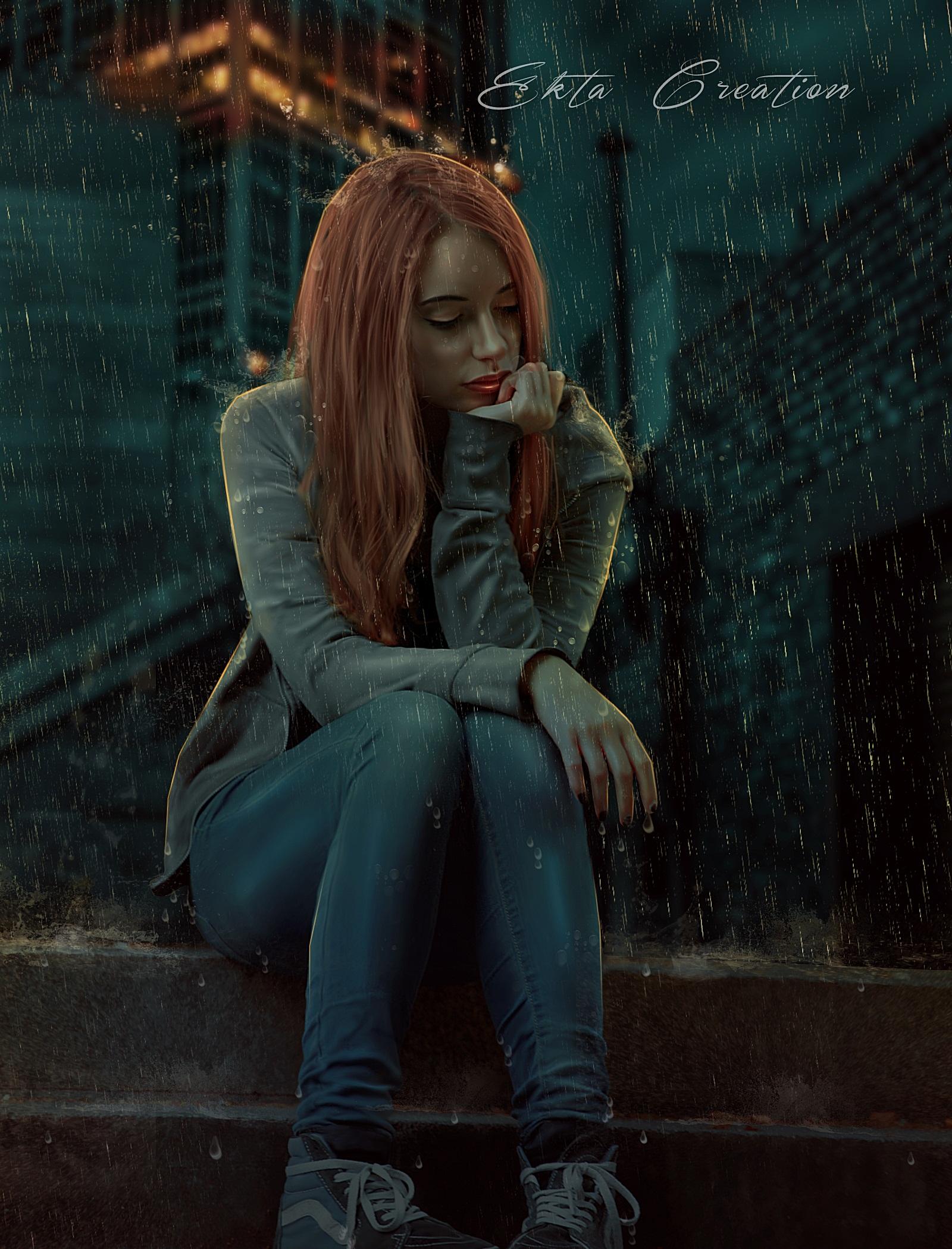 Фото Девушка с длинными волосами сидит под дождем на ступеньках, by ektapinki