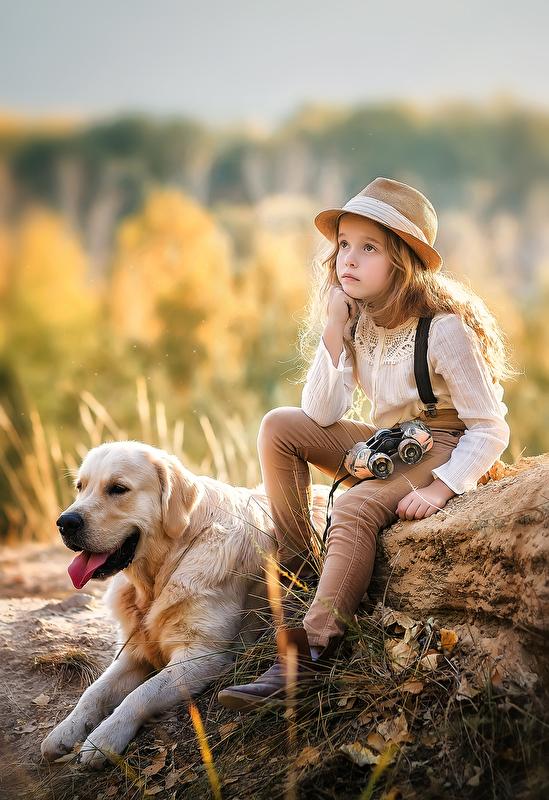 Фото Девочка сидит рядом с собакой, фотограф Недялкова Ирина