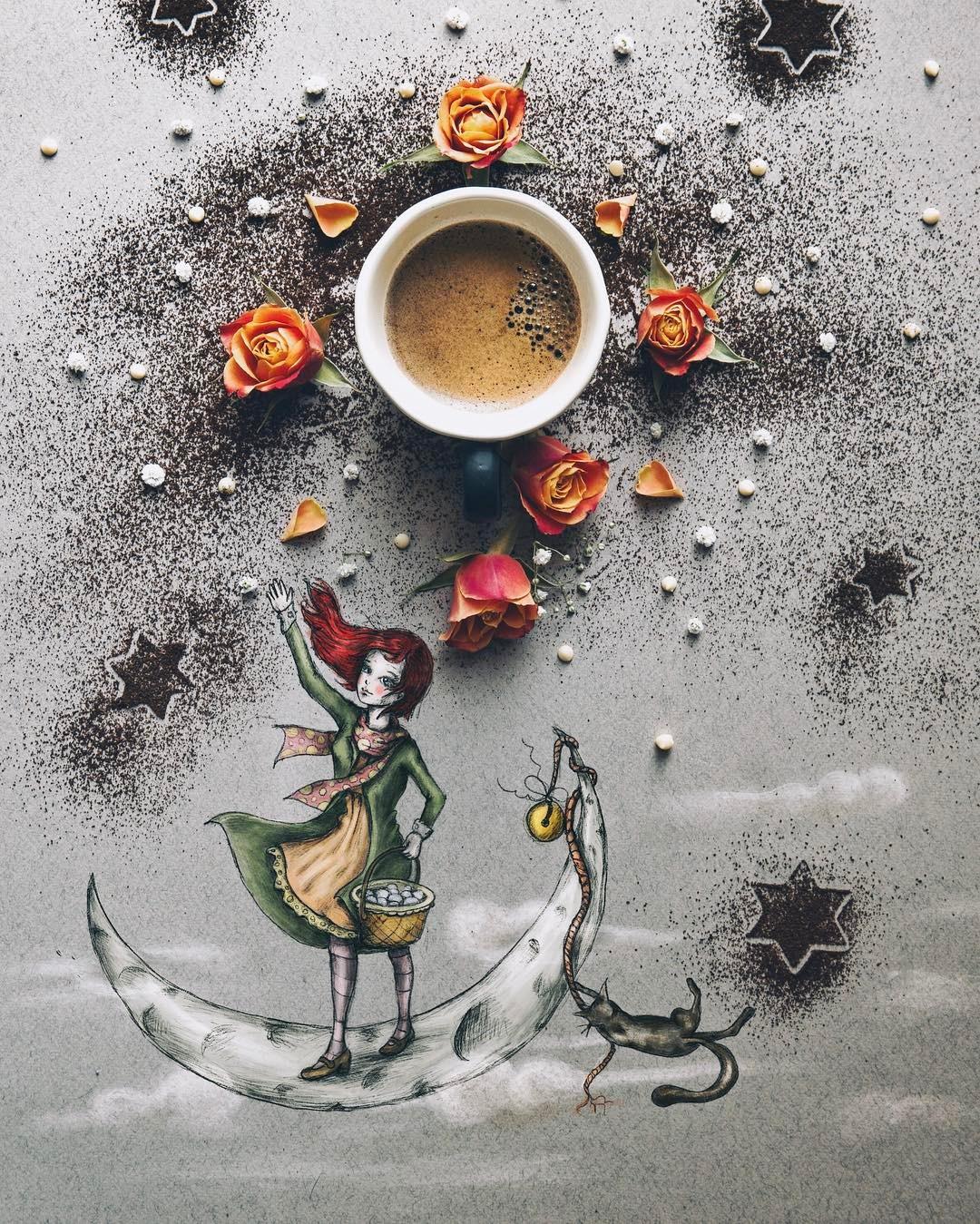 Открытки, открытки с кофе и девушкой