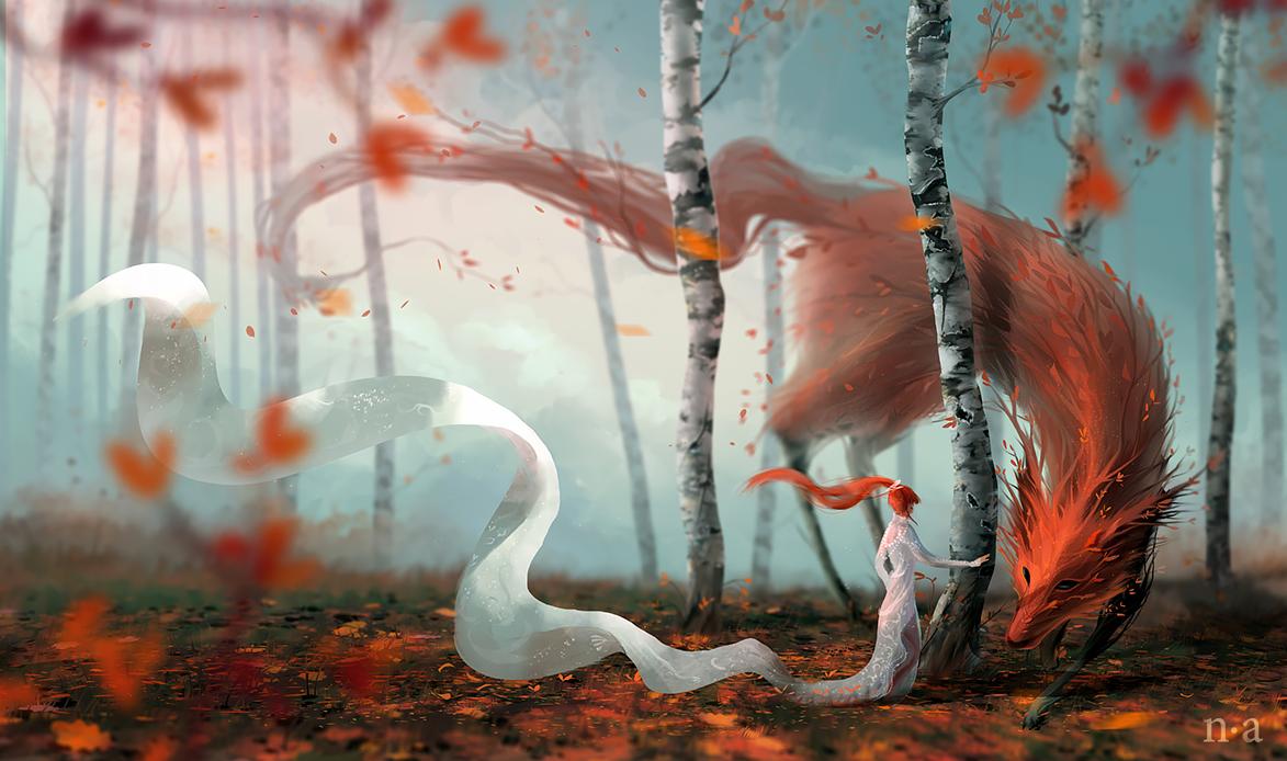 Фото Девушка в белом и лесной дух-лисица, олицетворяющий осень, by mohn-blume