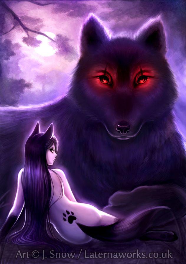 Фото Обнаженная девушка с ушками и хвостиком лежит возле большого волка, by KitJoYuki