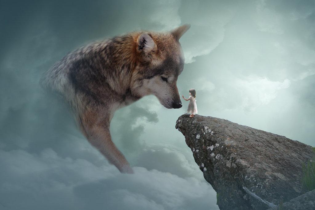 Фото Девочка, стоящая на скале, протягивает руку к огромному волку в облаках, by tcaliloria