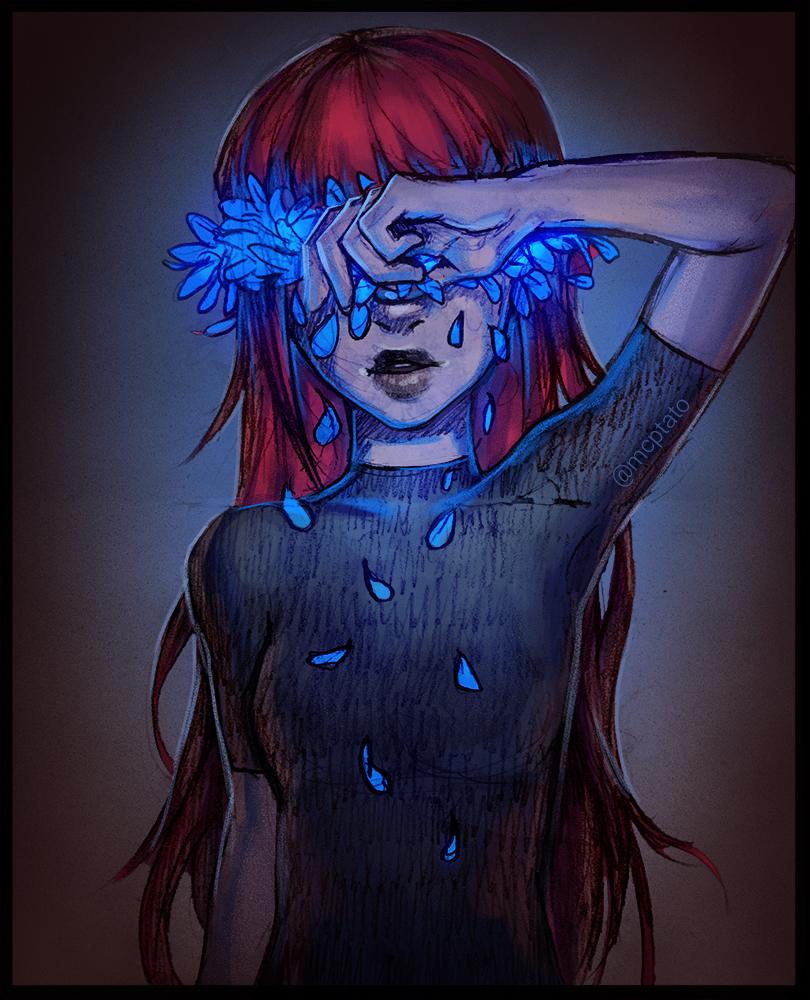 Фото Грустная девушка вытирает слезы-лепестки, by mcptato
