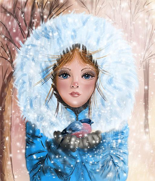 Фото Девочка с голубыми глазами держит на руках снегиря