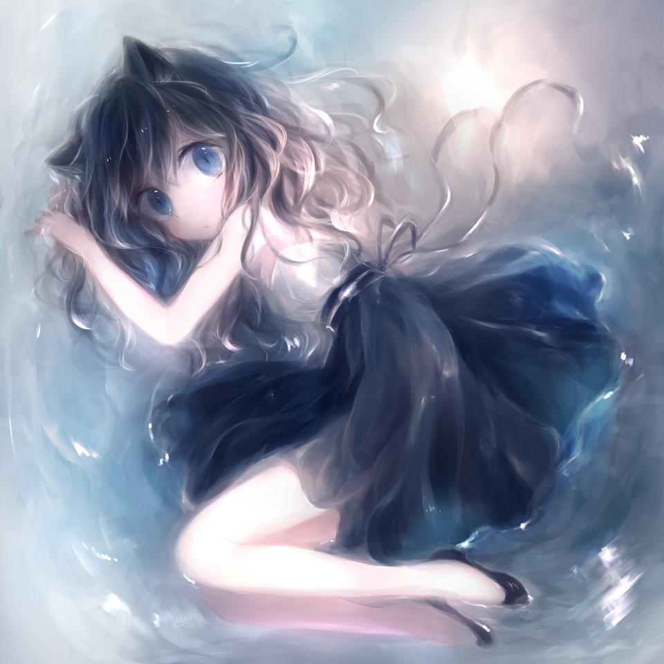 Фото Милая неко-девочка лежит в воде, by 小猫まり