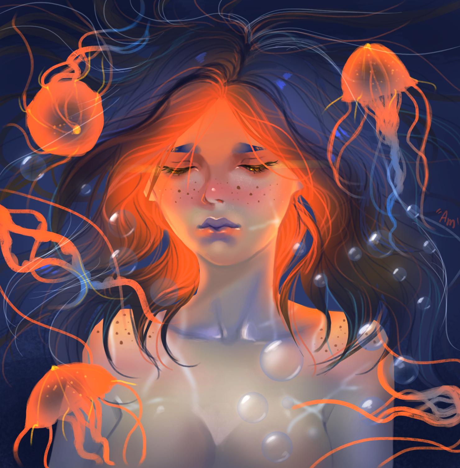 Фото Девушка в окружении медуз под водой, by AmeDvleec