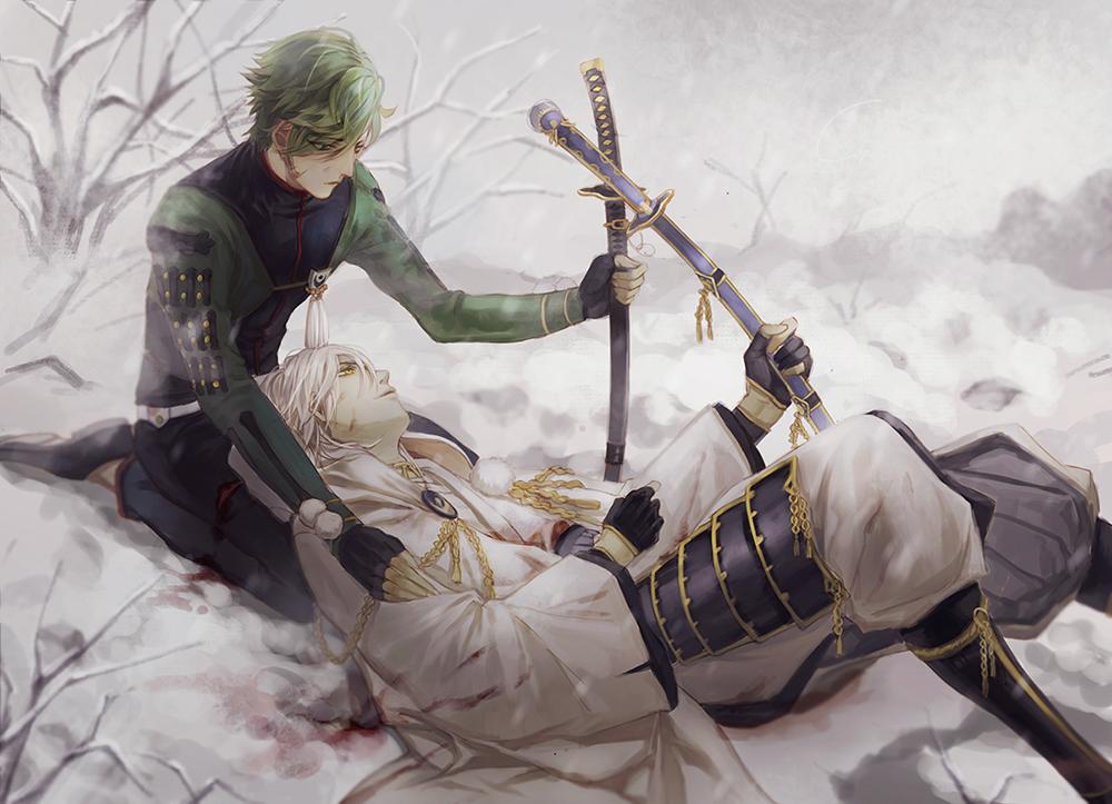 Фото Uguisumaru и раненный Tsurumaru Кuninaga / Цурумару Кунинага по среди заснеженного поля из игры Touken Ranbu / Танец мечей, art by Canto