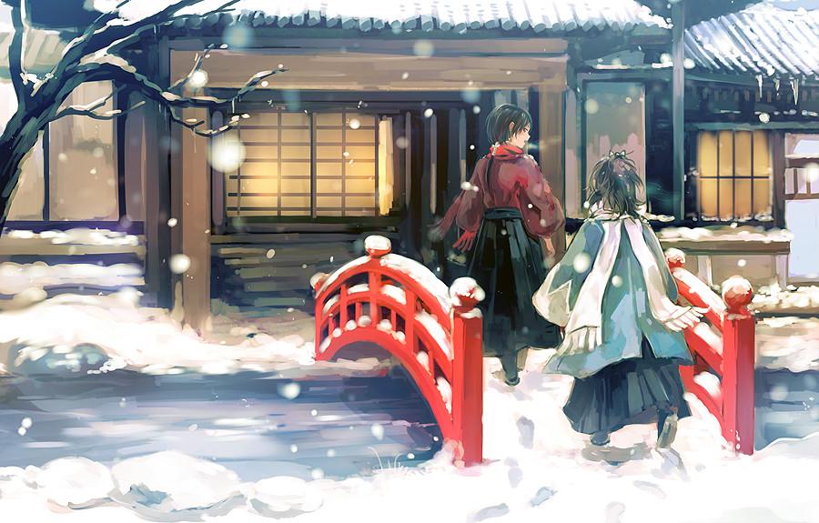 Фото Yamato no Kami Yasusada / Ямато но Ками Ясусада и Kashuu Kiyomitsu идут по мосту домой из игры Touken Ranbu / Танец мечей, art by Nuriko-kun