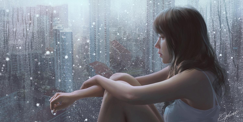 Фото Грустная девушка со слезами, с кольцом в руке сидит и у окна, by G-host Lee