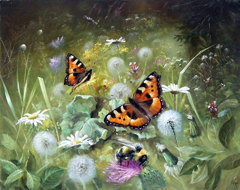Фото Бабочки порхают на цветами в траве. Художник Александр Желонкин