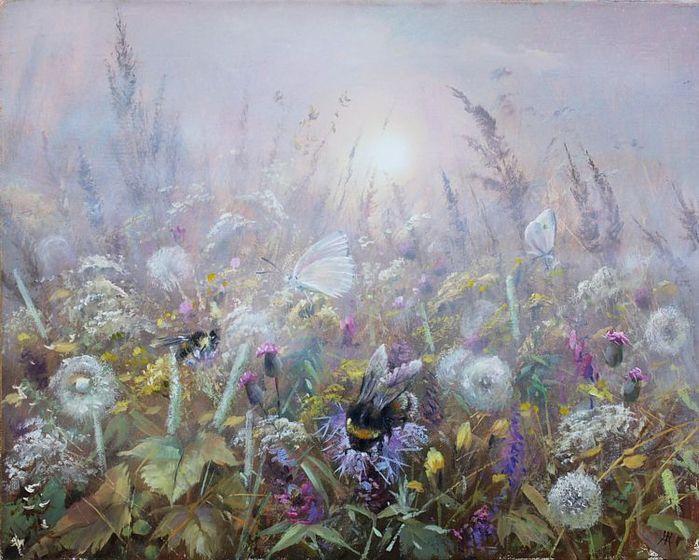 Фото Шмели и бабочки на цветах в траве на фоне солнца в тумане. Художник Александр Желонкин