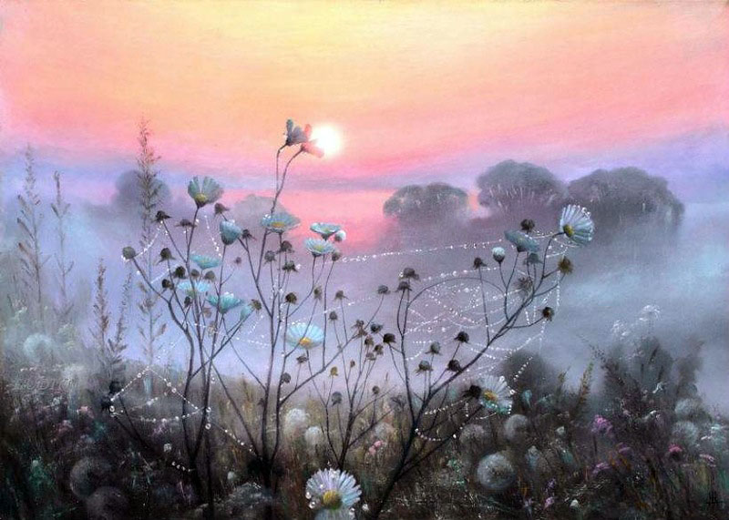 Фото Ромашки в паутине и одуванчики в траве на фоне закатного неба в тумане. Художник Александр Желонкин