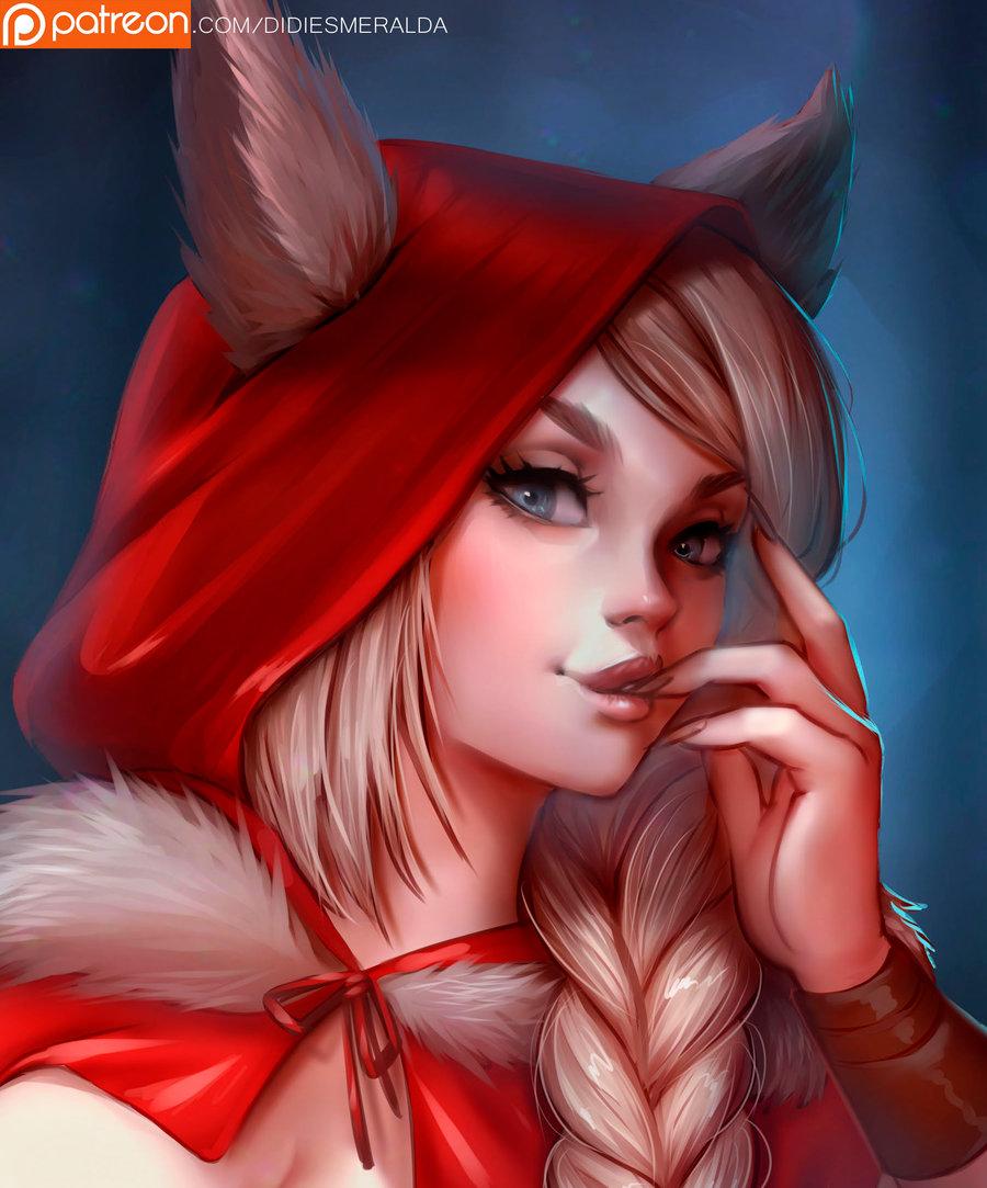 Фото Белокурая девушка с ушками в красном плаще с капюшоном, by Didi-Esmeralda