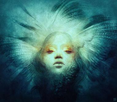 Фото Девушка с крыльями на голове и с чешуей на лице, by Anna Dittmann