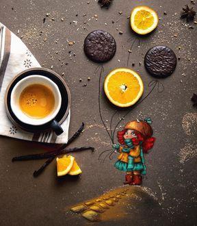 Фото Чашка кофе и девочка с шариками из апельсина и печенья, by Cinzia Bolognes