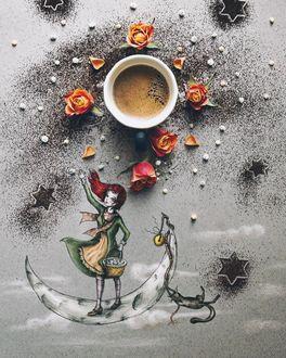 Фото Чашка кофе, девочка и кошка на месяце, by Cinzia Bolognesi
