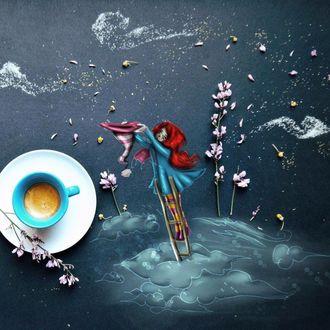 Фото Чашка кофе и девочка стоит на лестнице над облаками и собирает звездочки в полосатую шапку, by Cinzia Bolognesi