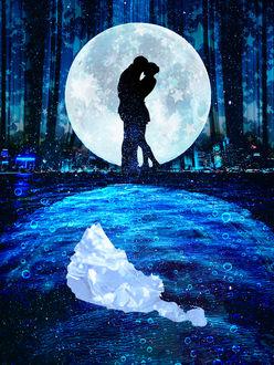 Фото Влюбленные стоят на фоне полной луны