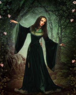 Фото Лесная нимфа с украшением на голове, в зеленом длинном платье на фоне леса и цветов. Фотограф Татьяна Духович