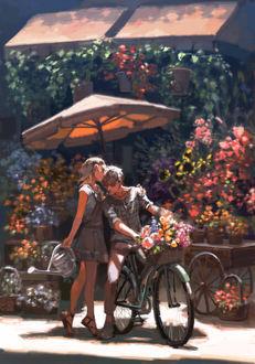 Фото Парень на велосипеде и девушка рядом, by Aliya Chen