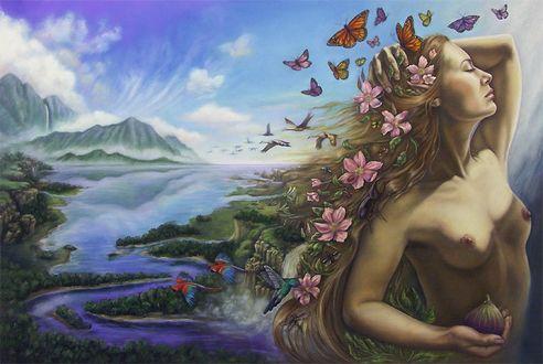 Фото Обнаженная девушка с цветами на волосах и бабочками над ней