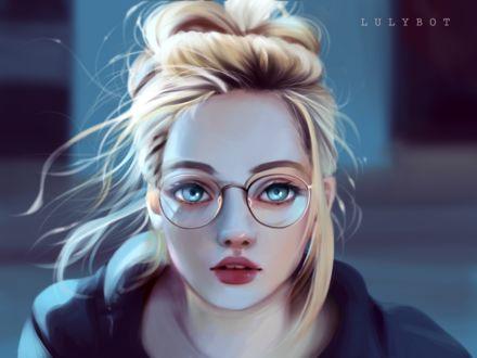 Фото Светловолосая девушка с голубыми глазами в очках, by Lulybot