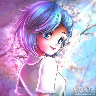 Фото Девочка с голубыми волосами, by galia-and-kitty