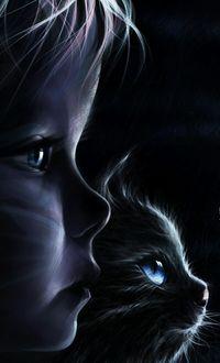 Фото Девочка и кот сидят в темноте
